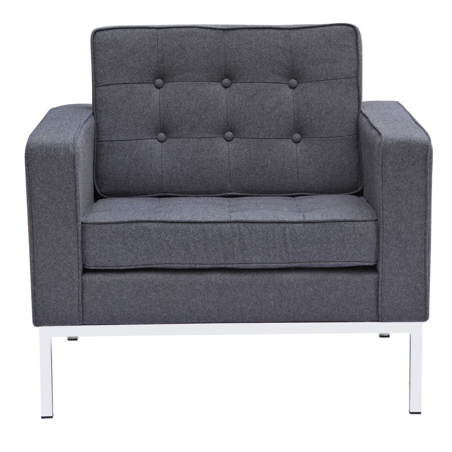 Contemporary Chair In Gray Wool Fabric - image-5