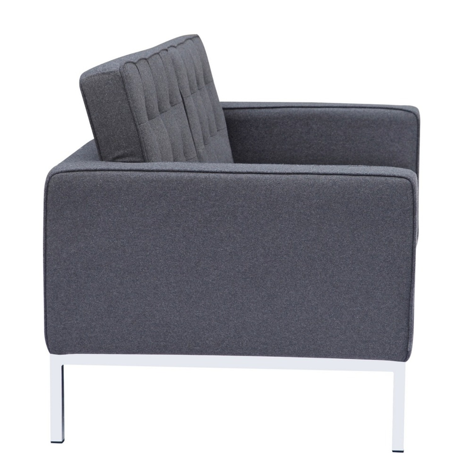 Contemporary Loveseat In Gray Wool Fabric - image-1