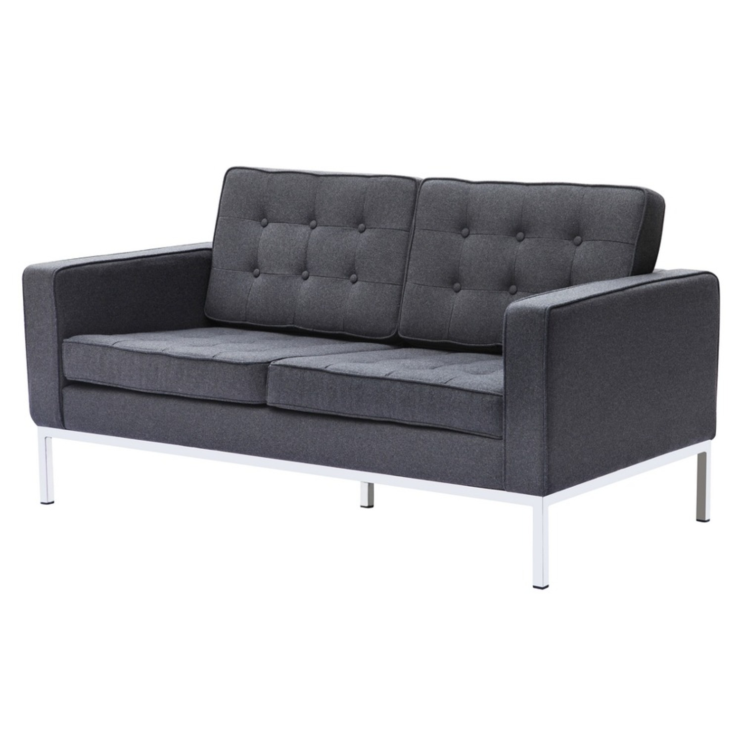 Contemporary Loveseat In Gray Wool Fabric - image-4
