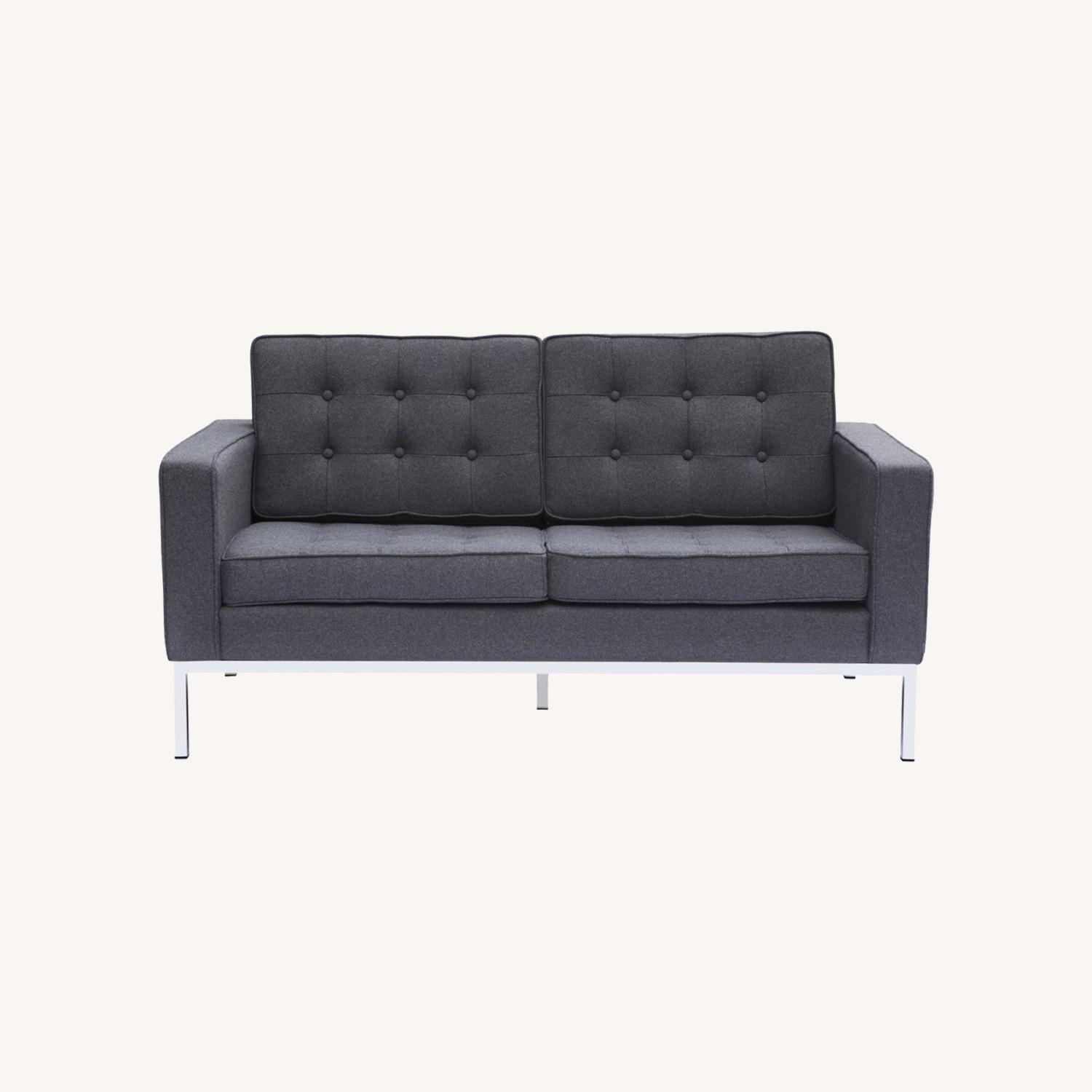 Contemporary Loveseat In Gray Wool Fabric - image-7