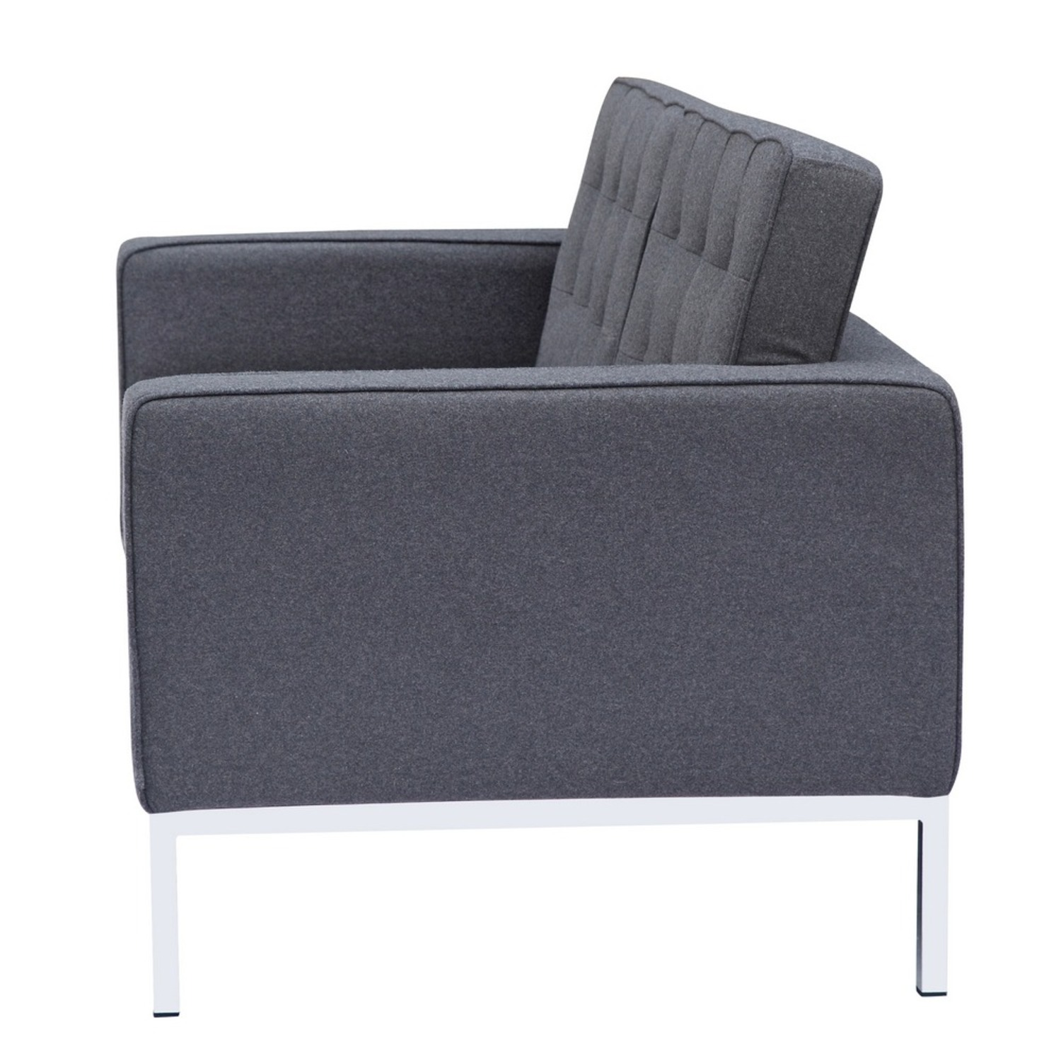 Contemporary Loveseat In Gray Wool Fabric - image-3