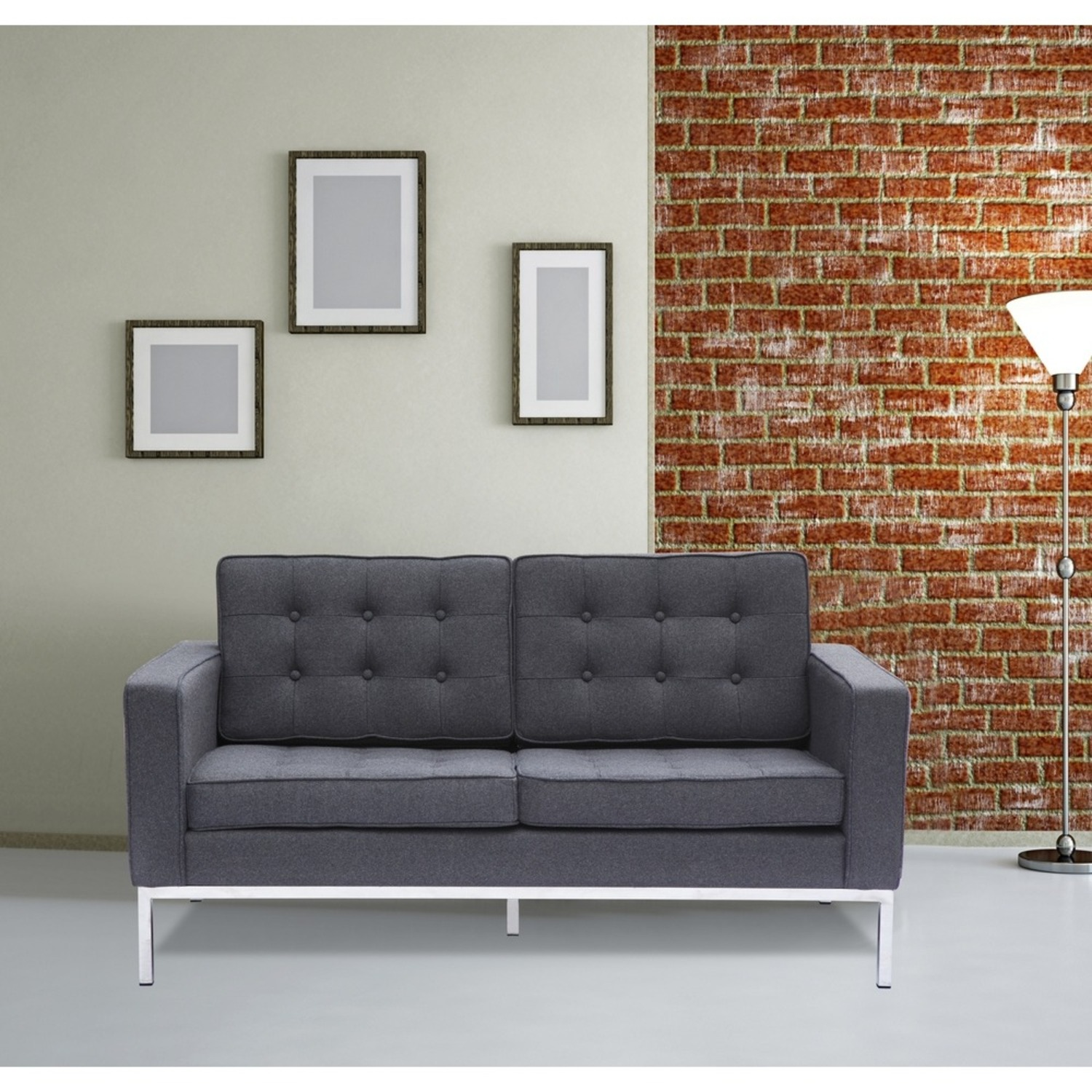 Contemporary Loveseat In Gray Wool Fabric - image-6
