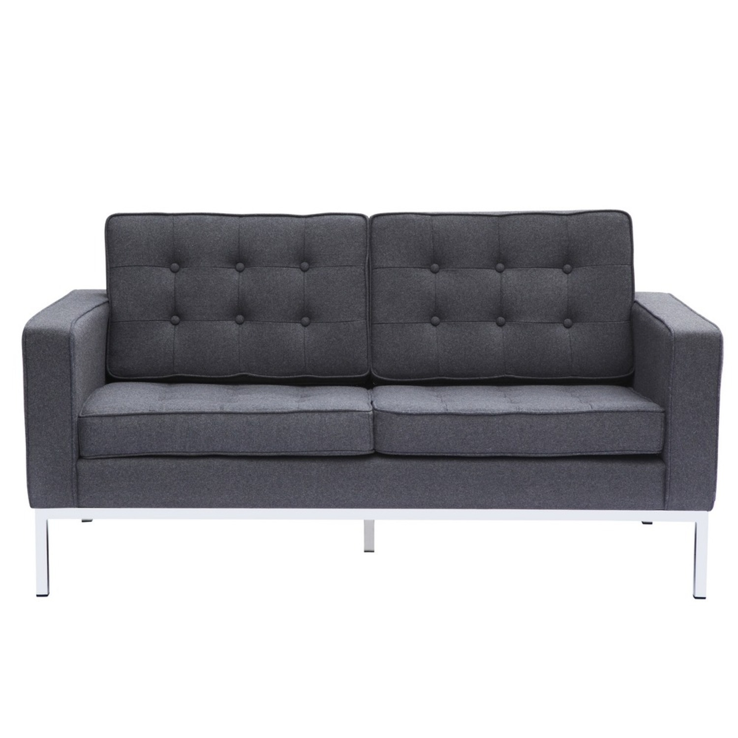 Contemporary Loveseat In Gray Wool Fabric - image-5