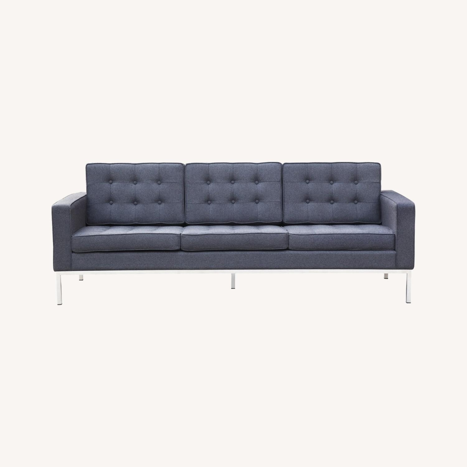 Contemporary Sofa In Gray Wool Fabric - image-7