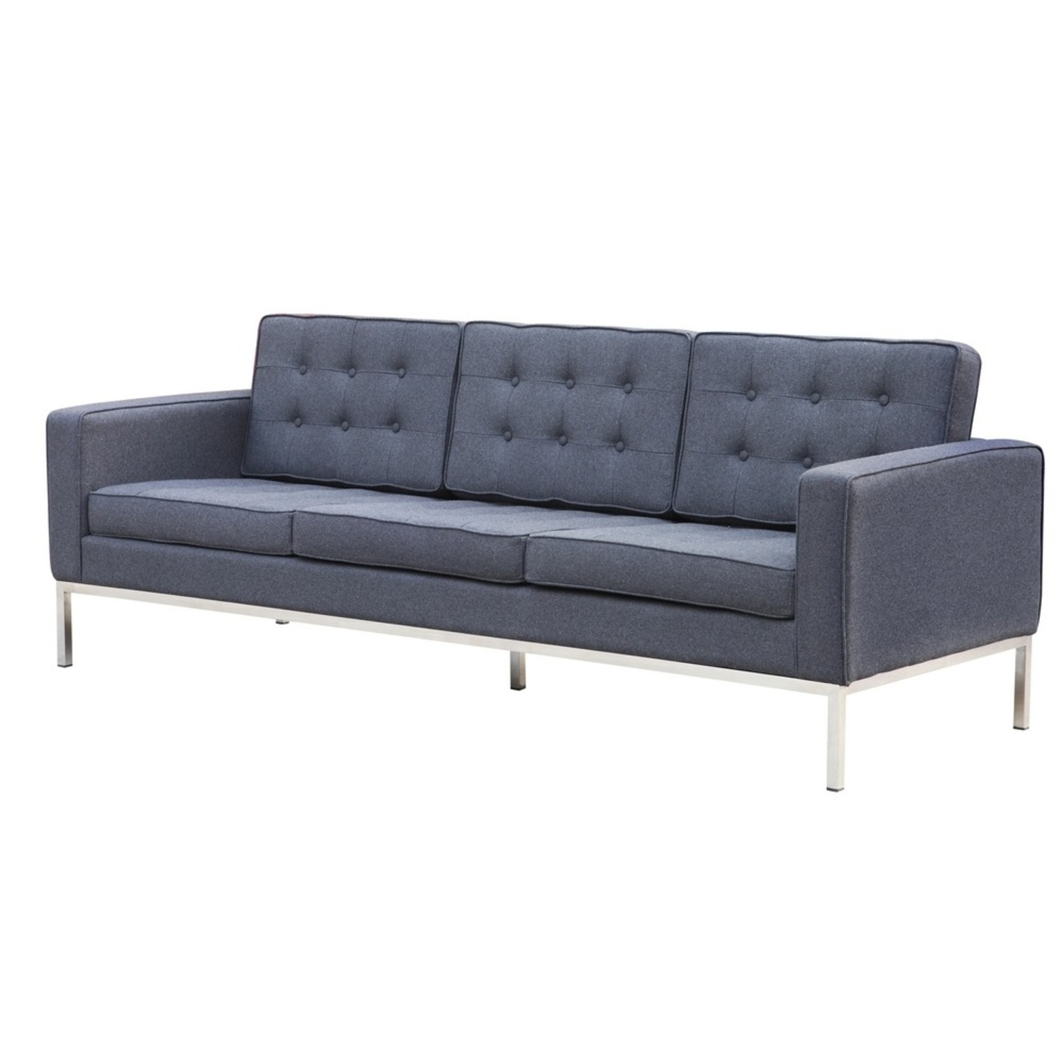 Contemporary Sofa In Gray Wool Fabric - image-4