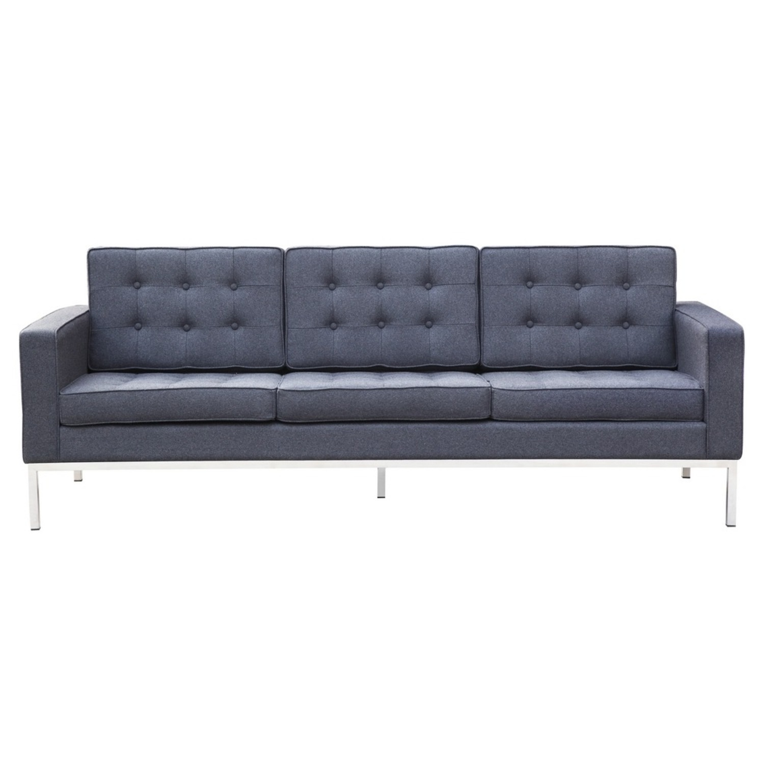 Contemporary Sofa In Gray Wool Fabric - image-5