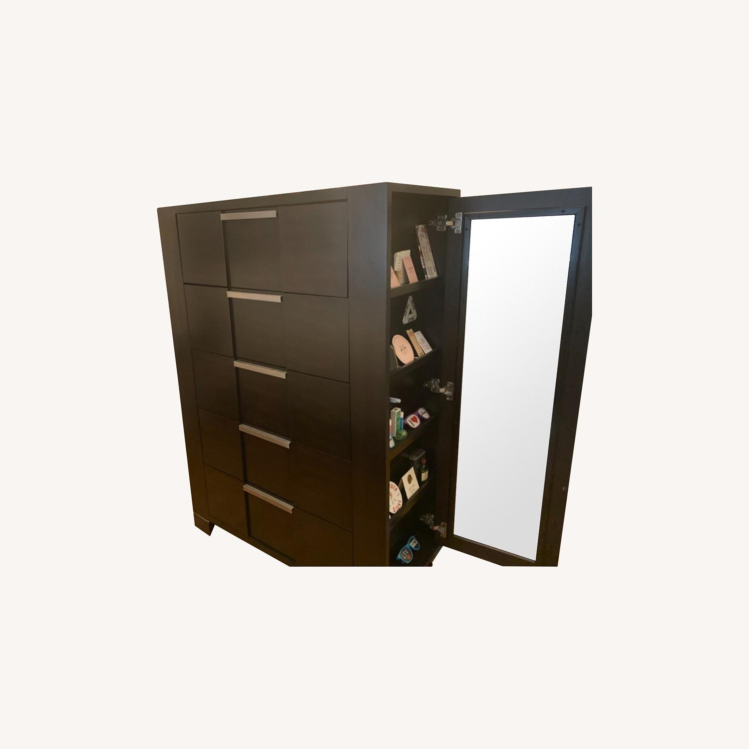 5-Drawer Dresser with Side Shelves and Mirror Door - image-0