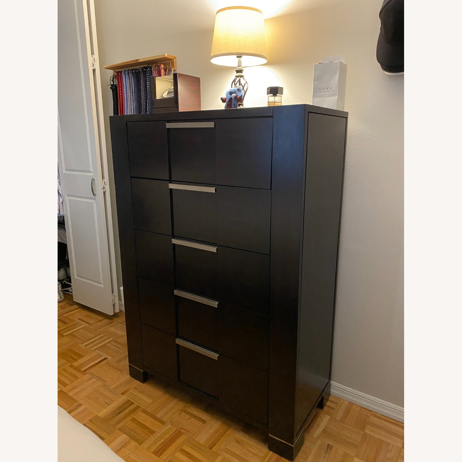 5-Drawer Dresser with Side Shelves and Mirror Door - image-5