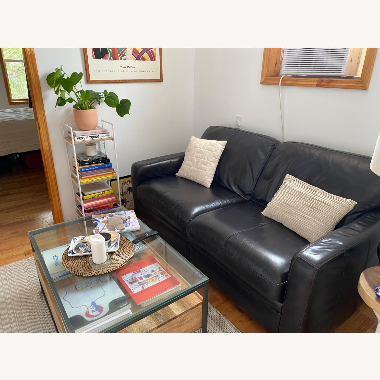 Raymour & Flanigan Brown Leather Full Sleeper Sofa - AptDeco