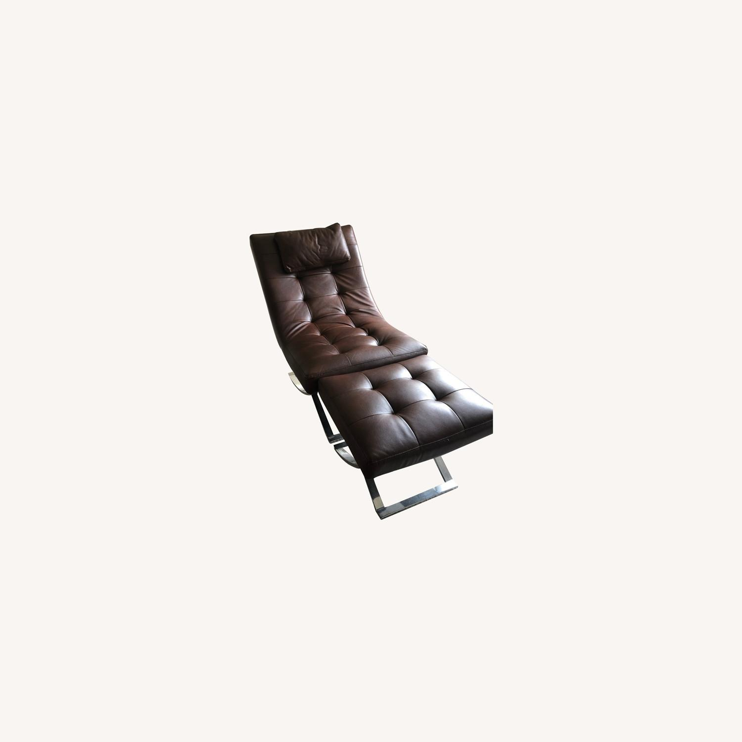 Raymour & Flanigan Leather Chaise and Ottoman - image-0