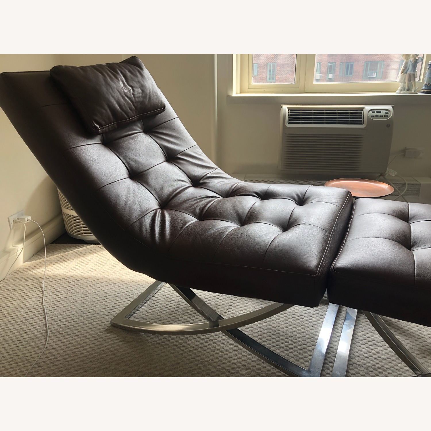 Raymour & Flanigan Leather Chaise and Ottoman - image-3