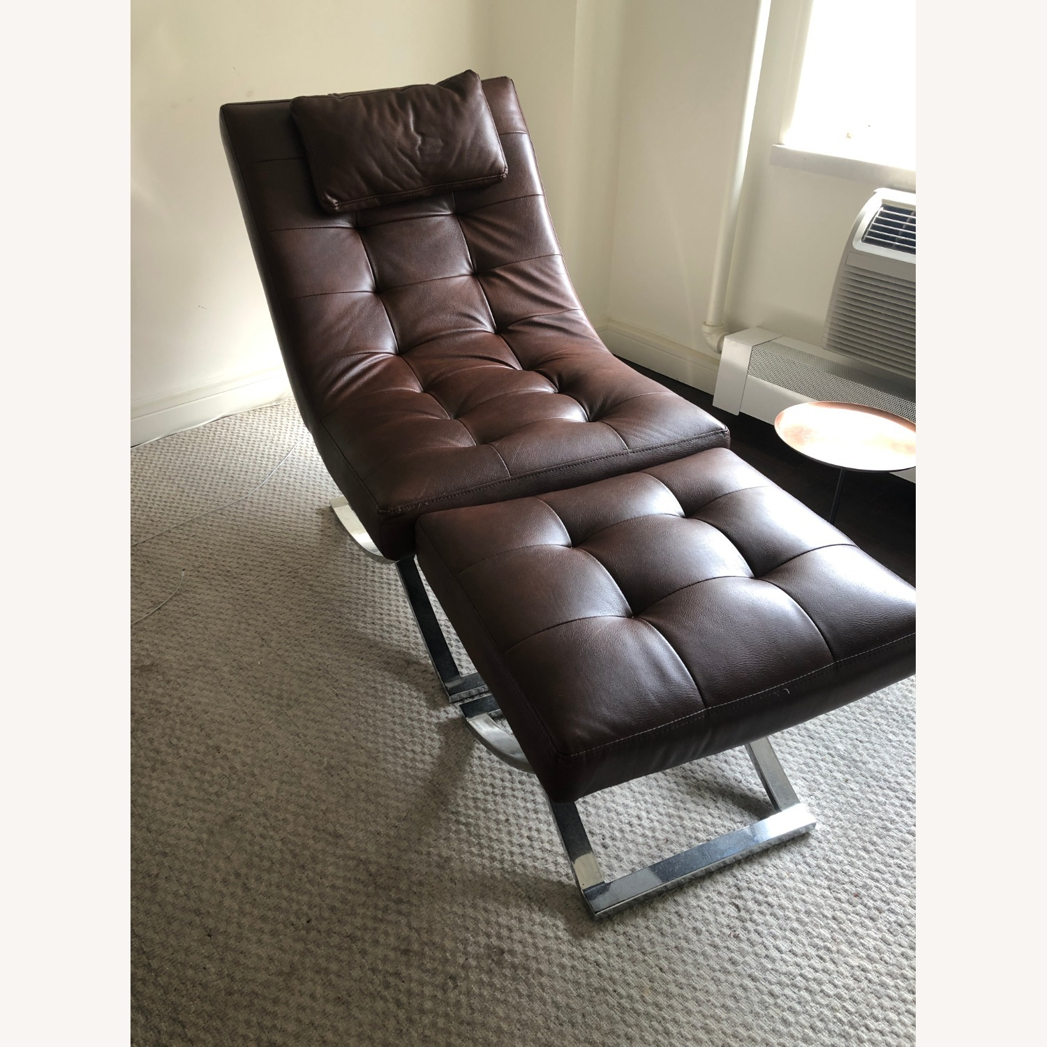 Raymour & Flanigan Leather Chaise and Ottoman - image-2