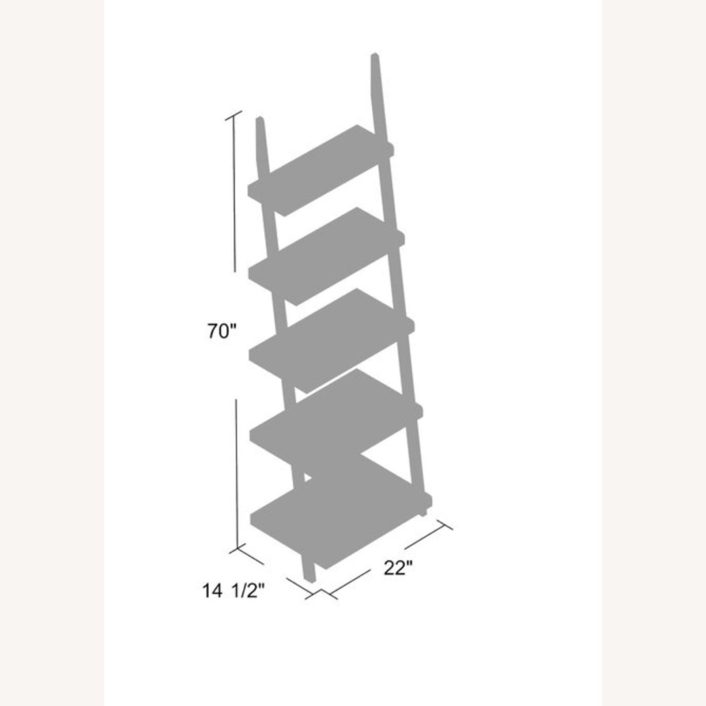 Zipcode Design White Wood Ladder Bookcase Shelving Unit - image-1