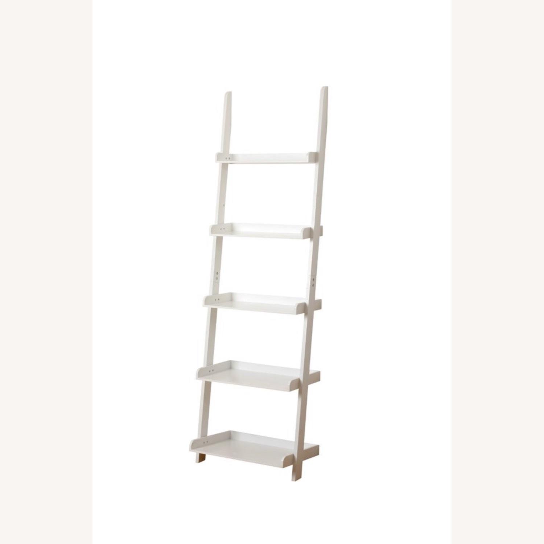 Zipcode Design White Wood Ladder Bookcase Shelving Unit - image-2