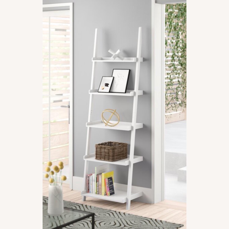 Zipcode Design White Wood Ladder Bookcase Shelving Unit - image-0