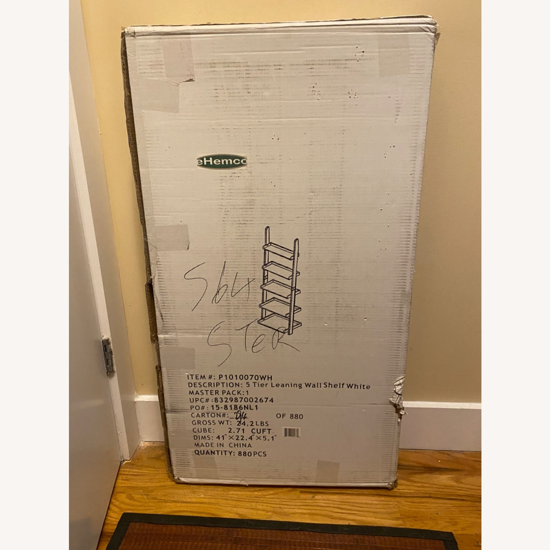 Zipcode Design White Wood Ladder Bookcase Shelving Unit - image-3