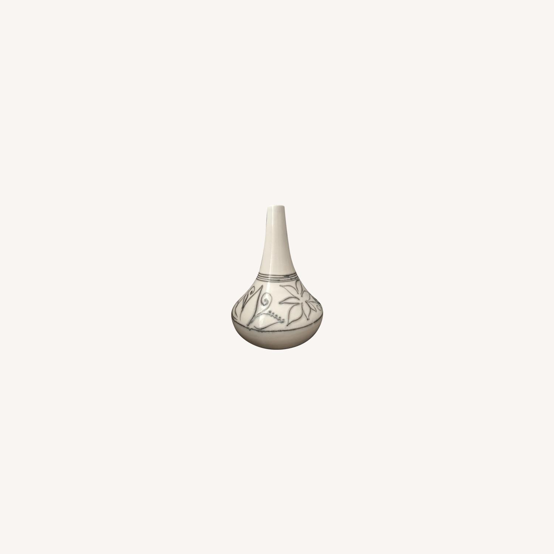 Beige Ceramic Vase with Silver Detail - image-0