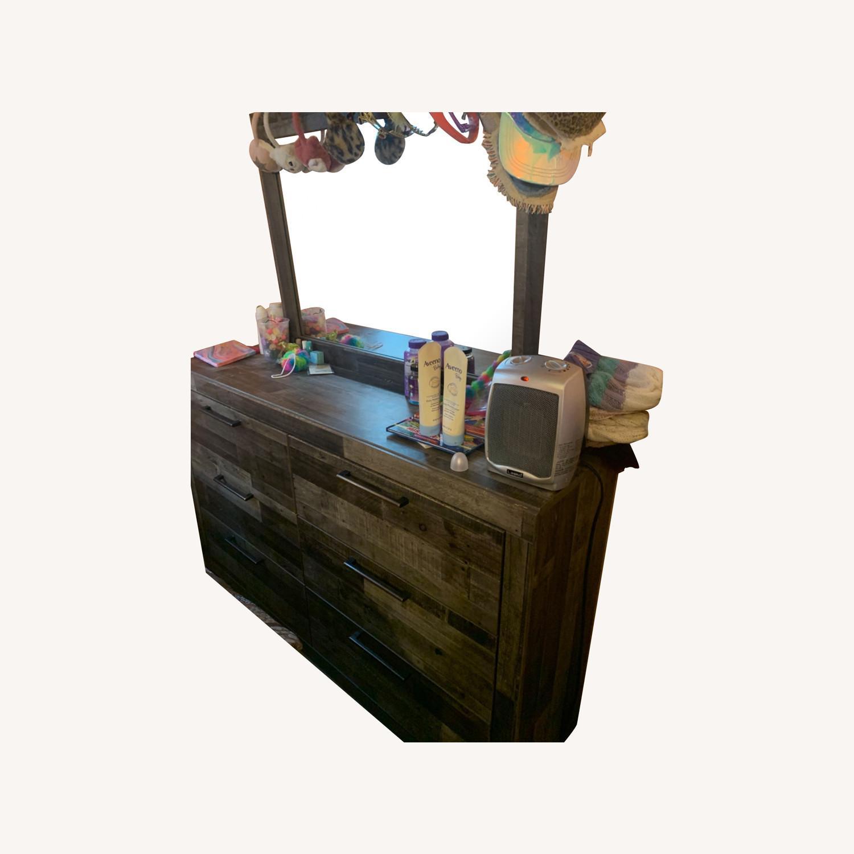 Dark Brown Mirror Dresser - image-0