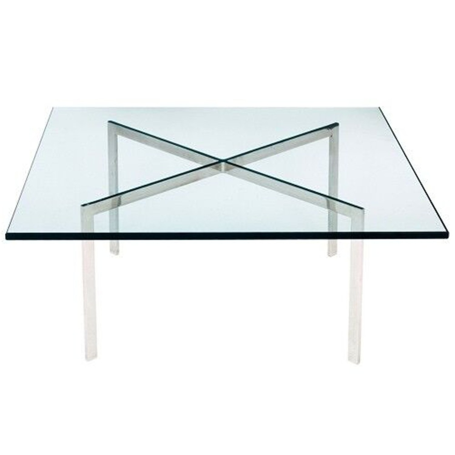 Coffee Table In Stainless Steel Frame & Glass Top - image-1