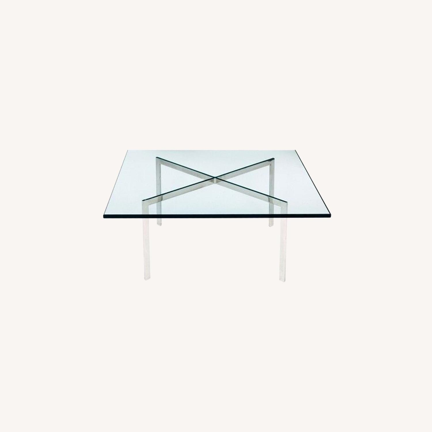 Coffee Table In Stainless Steel Frame & Glass Top - image-3