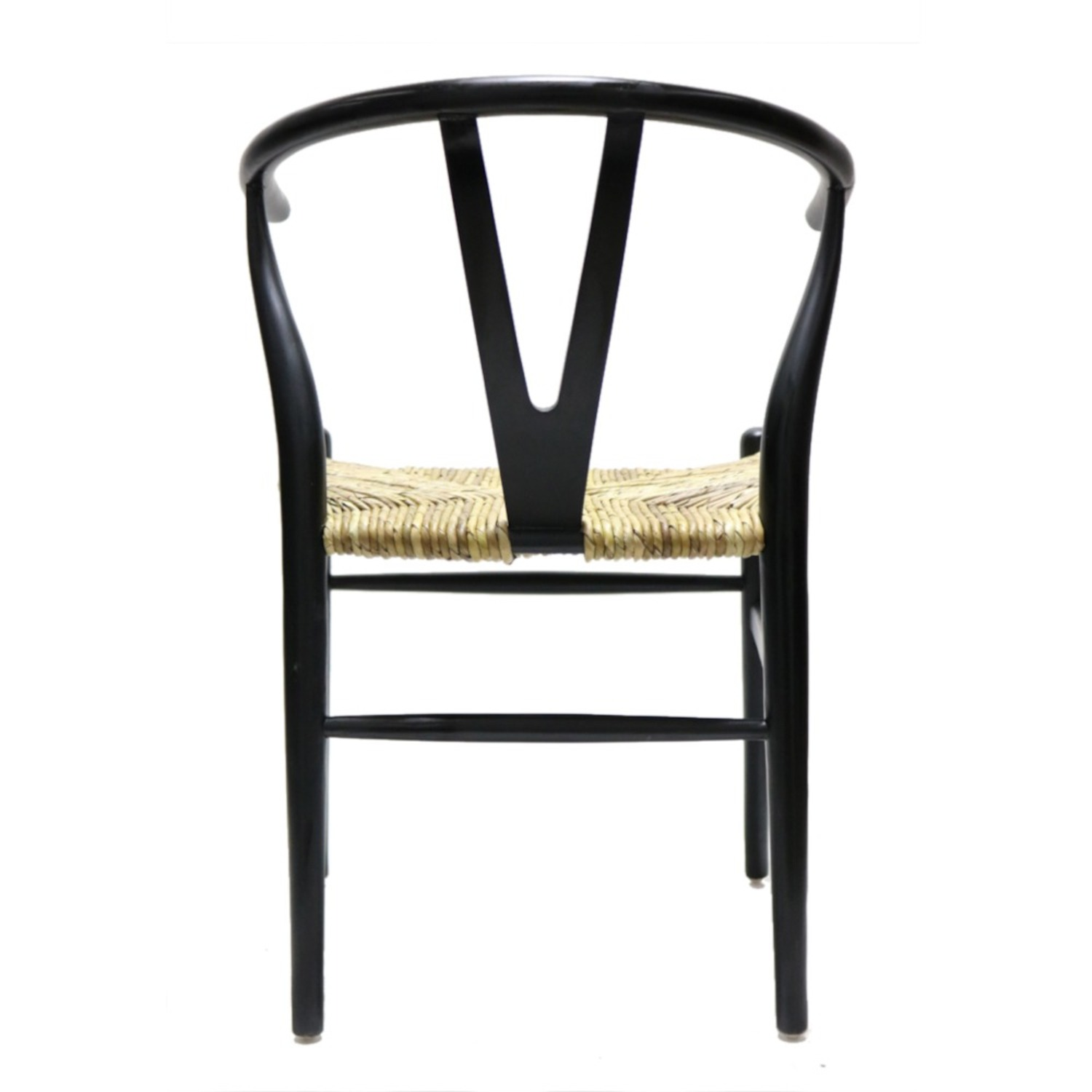 Dining Chair In Black Frame & Natural Hemp Seat - image-5