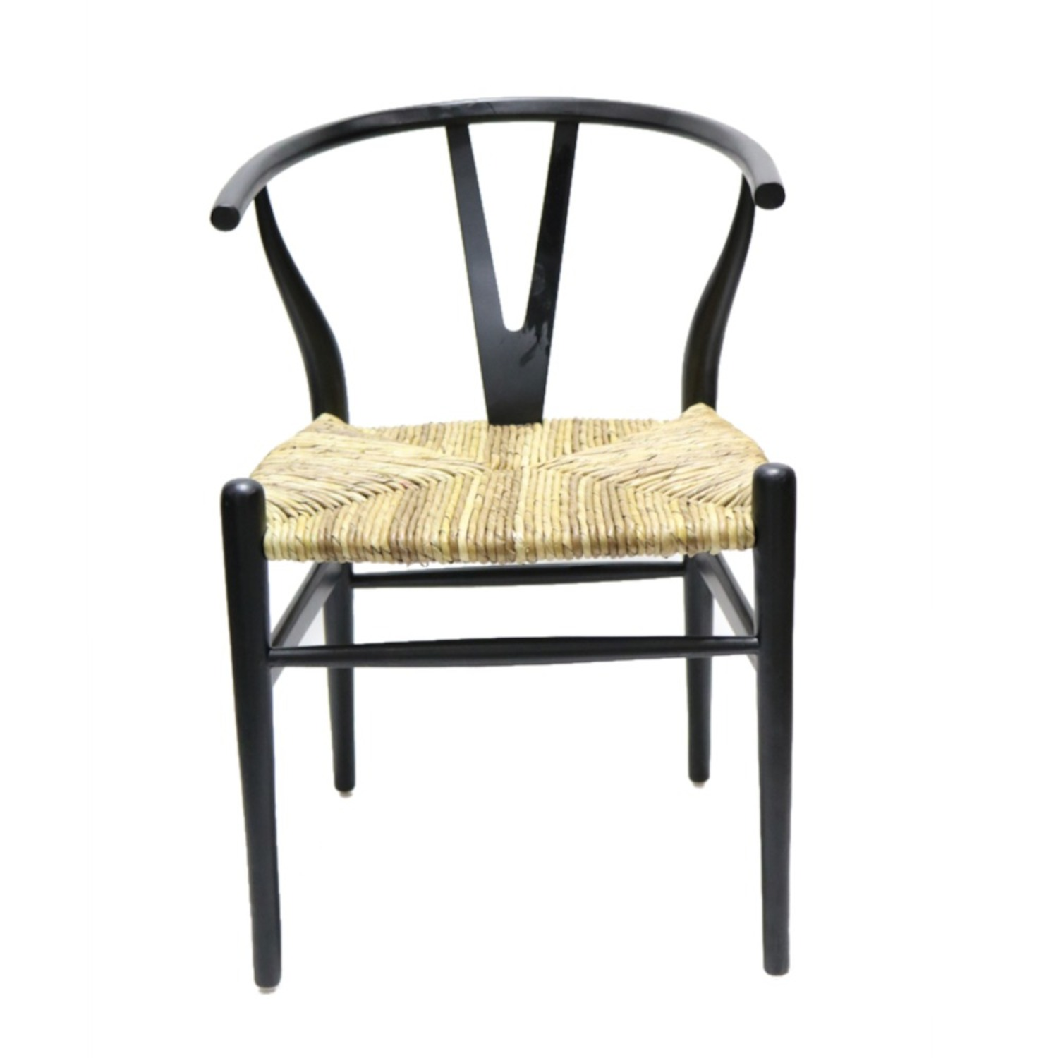 Dining Chair In Black Frame & Natural Hemp Seat - image-1