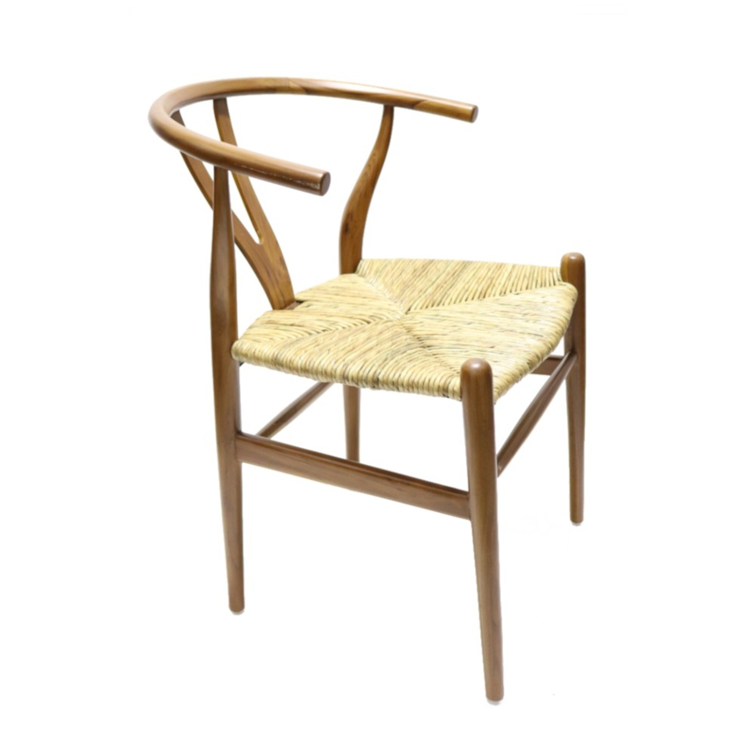 Dining Chair In Walnut Frame & Natural Hemp Seat - image-0