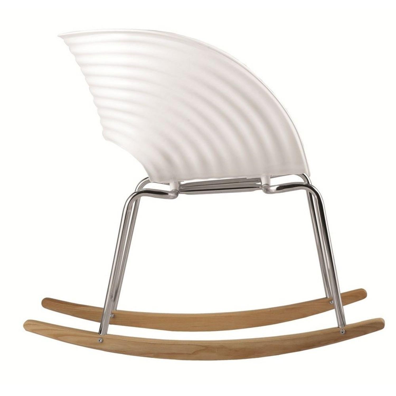 Rocker Chair In White Seat W/ Stainless Steel Legs - image-1