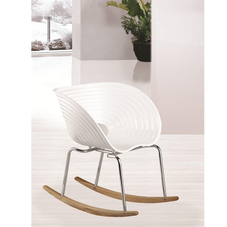 Rocker Chair In White Seat W/ Stainless Steel Legs - image-2