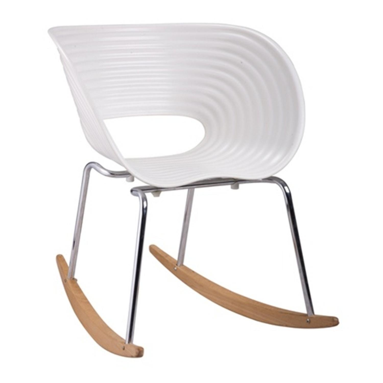 Rocker Chair In White Seat W/ Stainless Steel Legs - image-0
