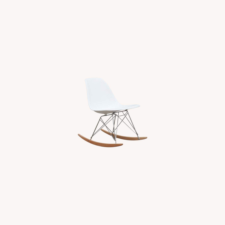 Rocker Side Chair In White Seat & Ash Wood Base - image-6
