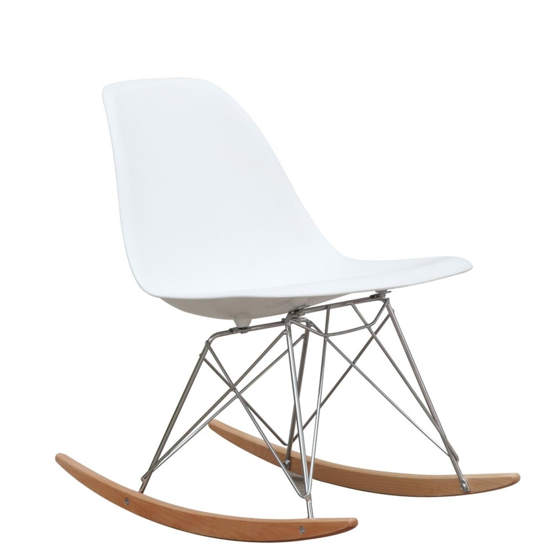 Rocker Side Chair In White Seat & Ash Wood Base - image-0