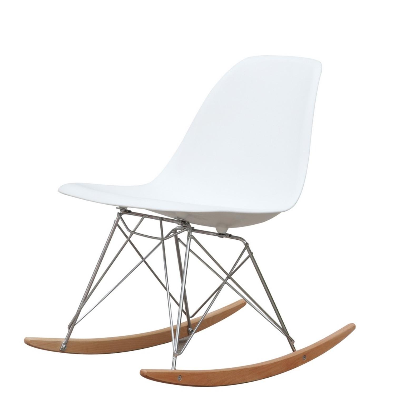 Rocker Side Chair In White Seat & Ash Wood Base - image-4