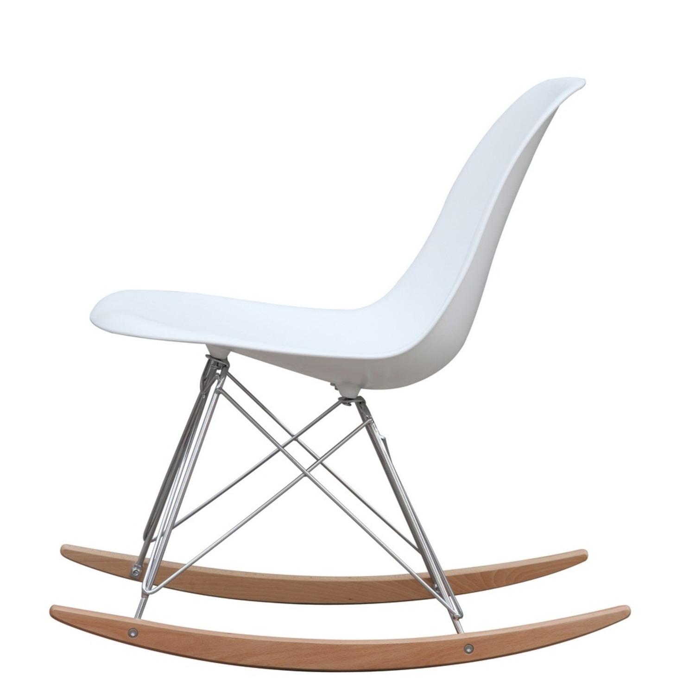 Rocker Side Chair In White Seat & Ash Wood Base - image-3