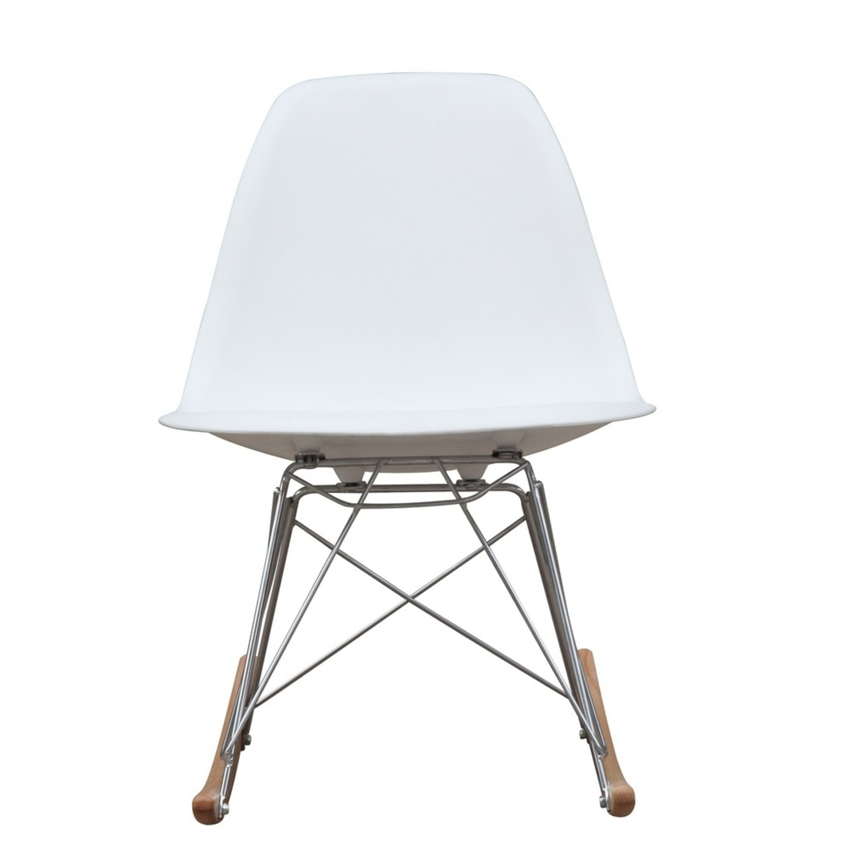 Rocker Side Chair In White Seat & Ash Wood Base - image-5