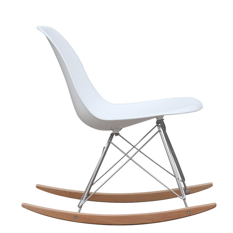 Rocker Side Chair In White Seat & Ash Wood Base - image-1