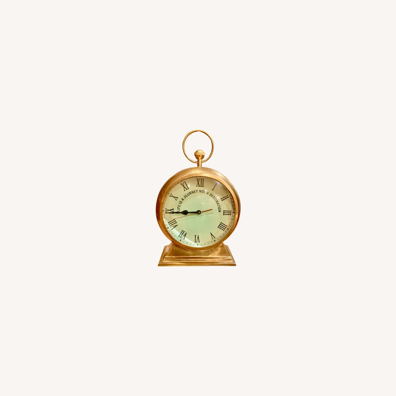 Huge Convex Artisan Brass Clock - image-0