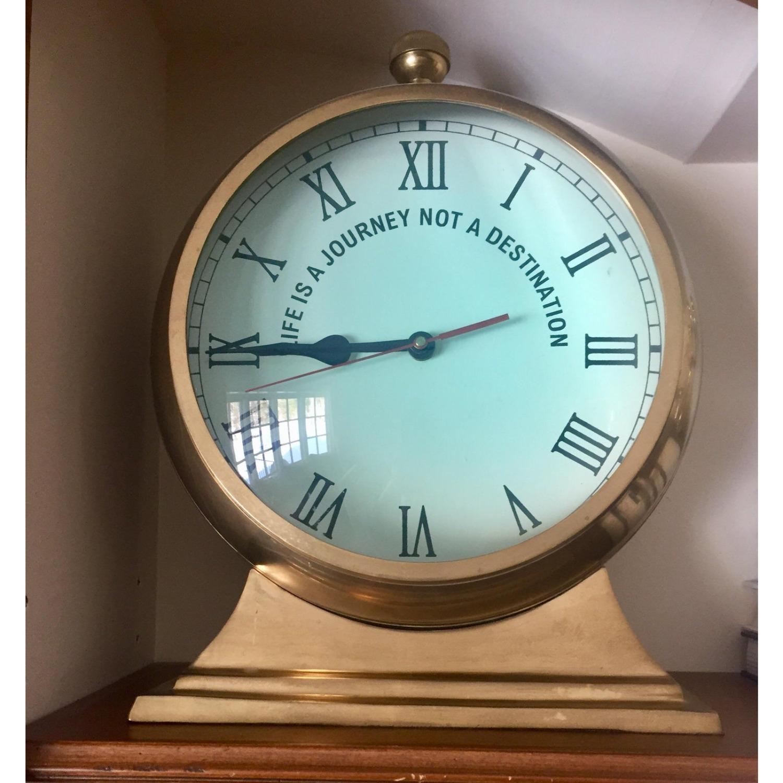 Huge Convex Artisan Brass Clock - image-3