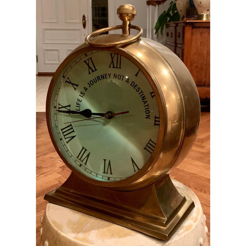 Huge Convex Artisan Brass Clock - image-5