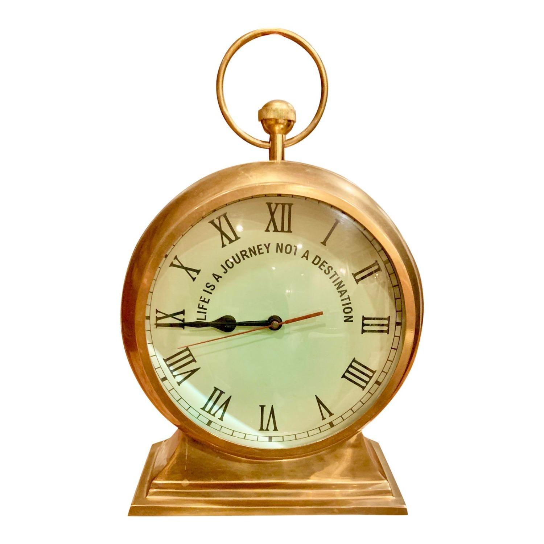 Huge Convex Artisan Brass Clock - image-2