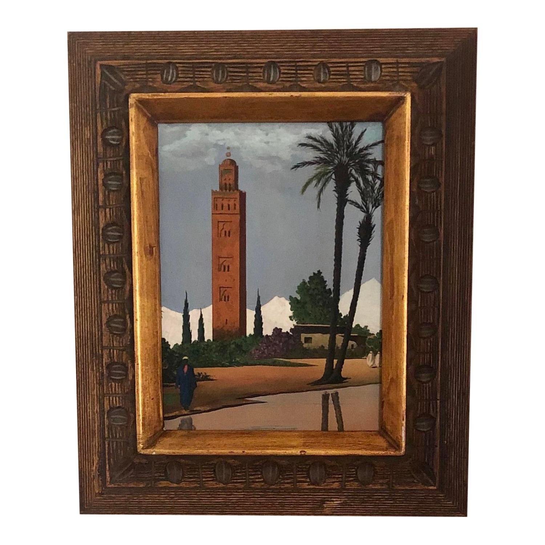 Mid Century Middle Eastern Scene Original Painting - image-1