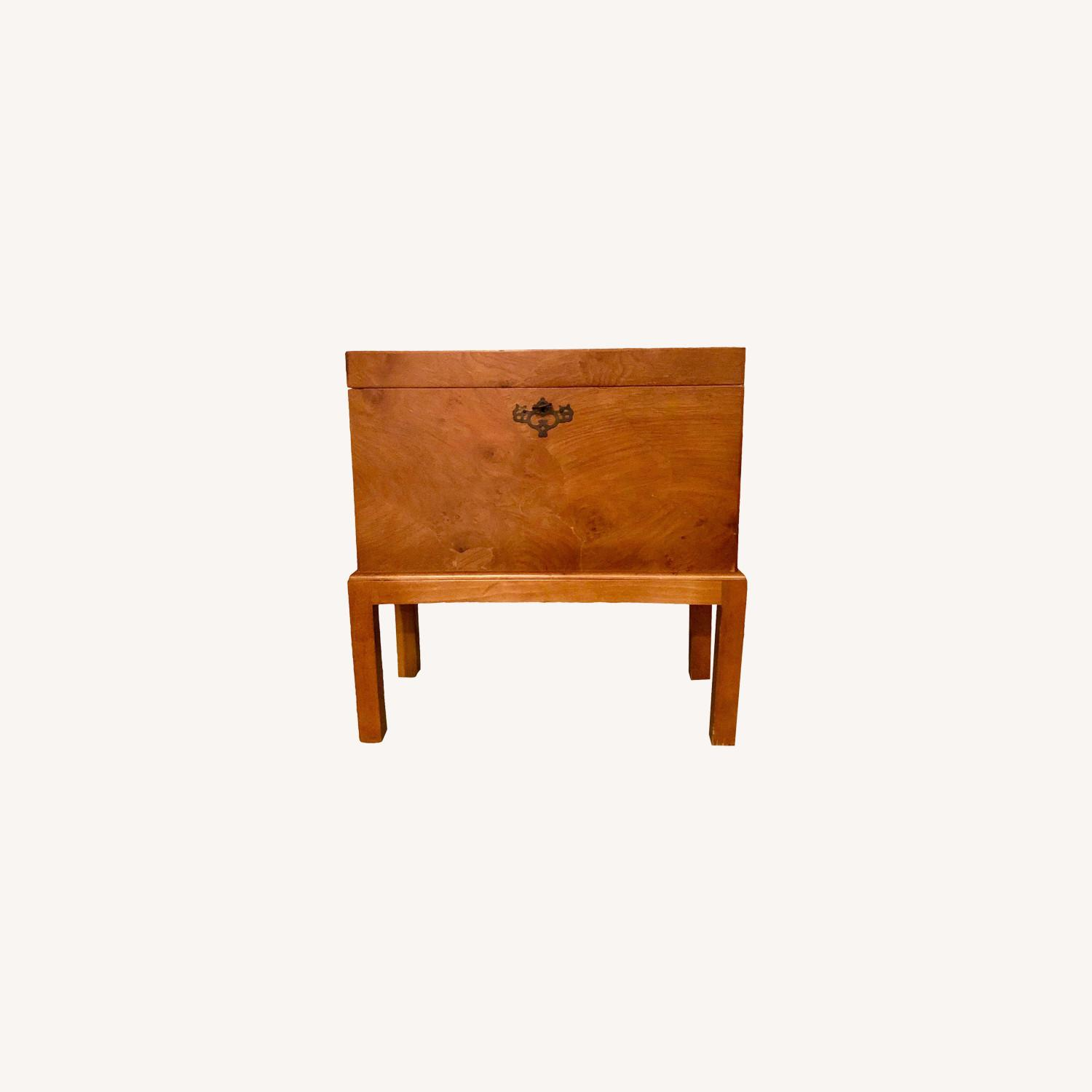Vintage Wooden Keyhole Chest on Legs - image-0