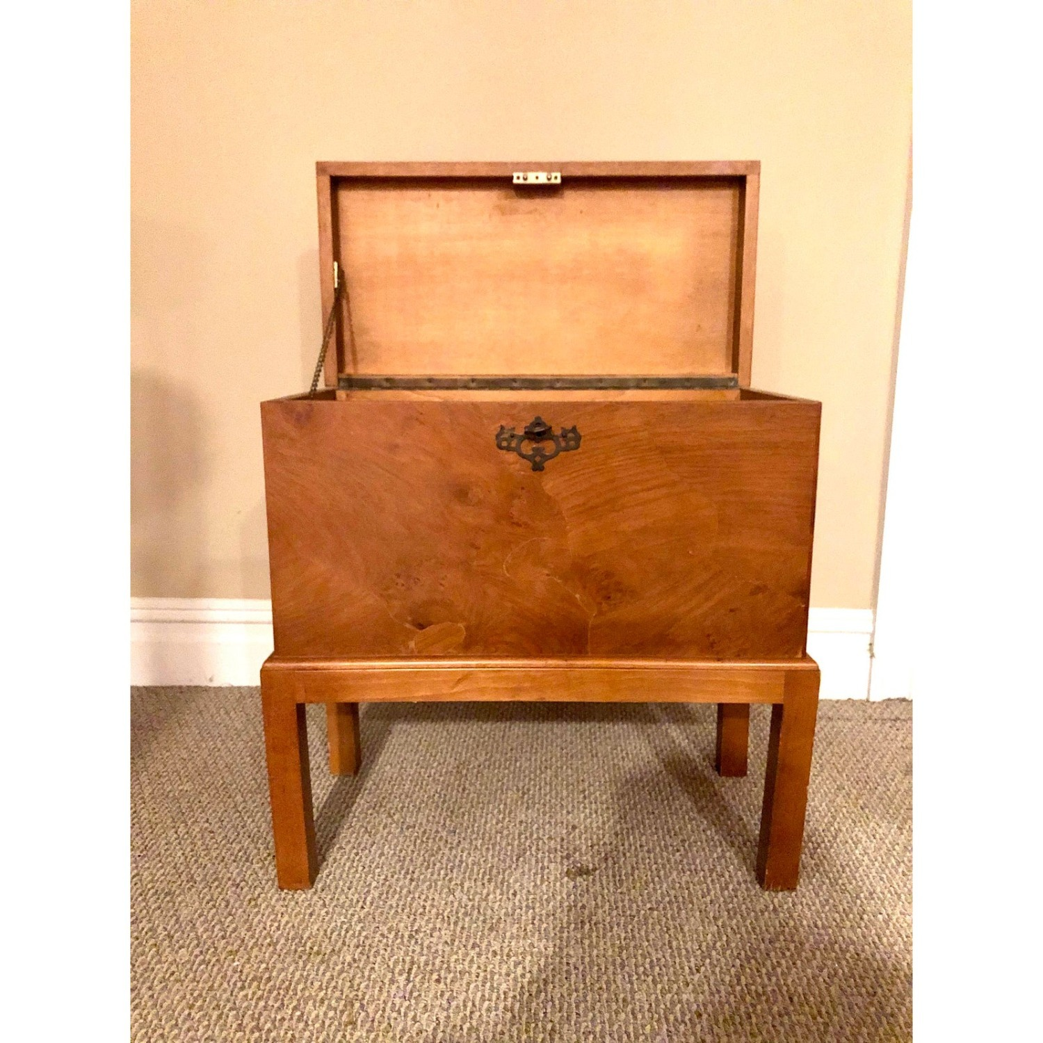 Vintage Wooden Keyhole Chest on Legs - image-2