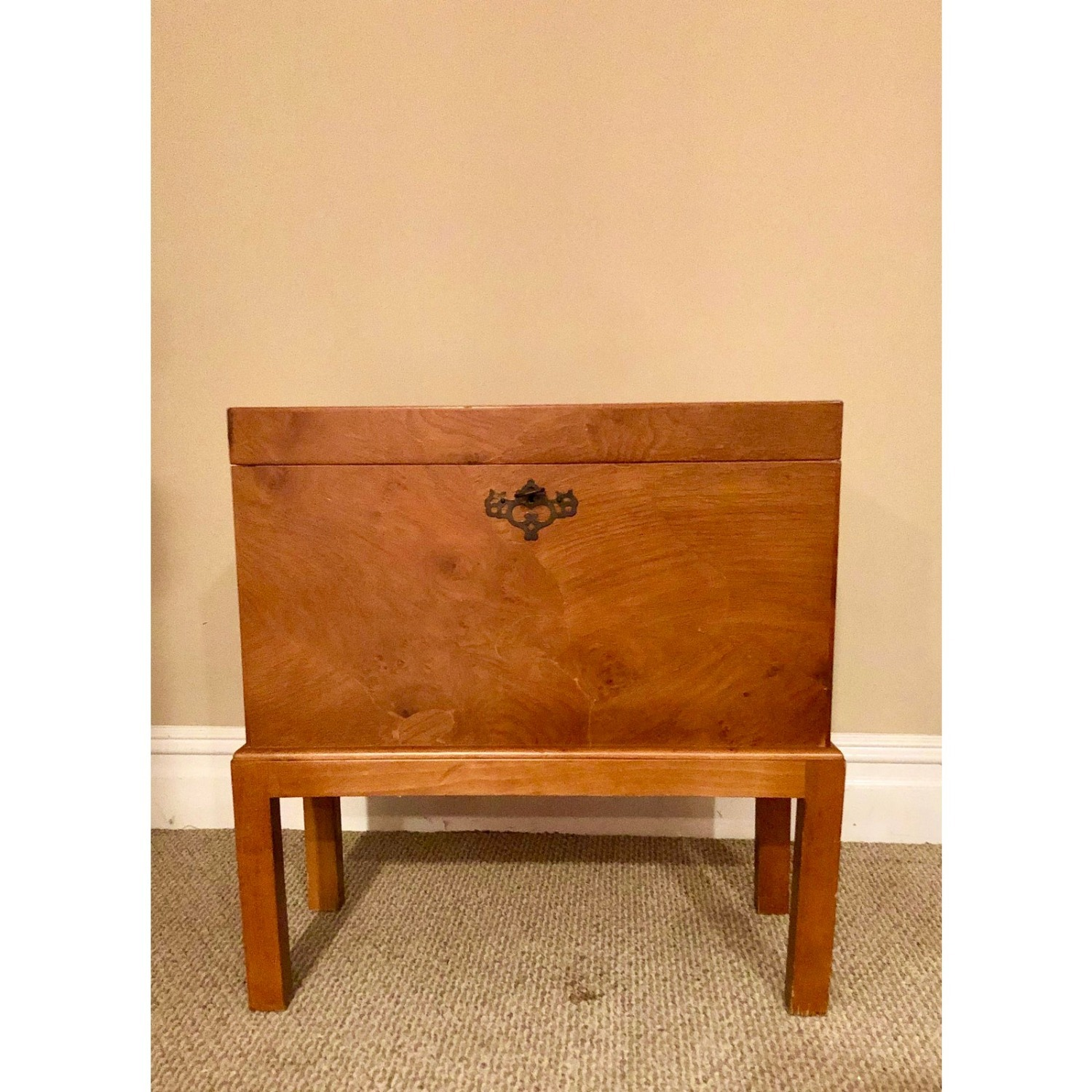 Vintage Wooden Keyhole Chest on Legs - image-6