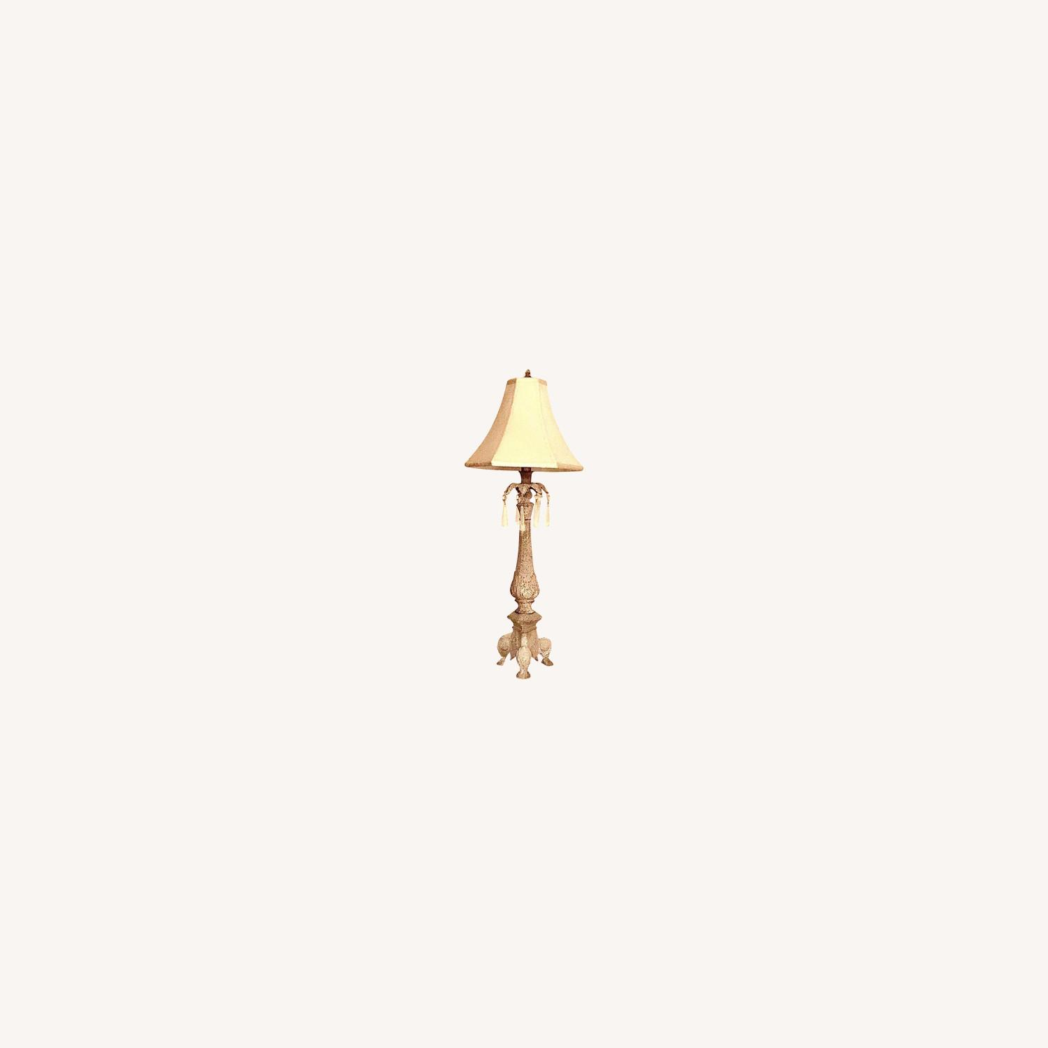 Vintage Table Lamp With Shade & Crystals - image-0