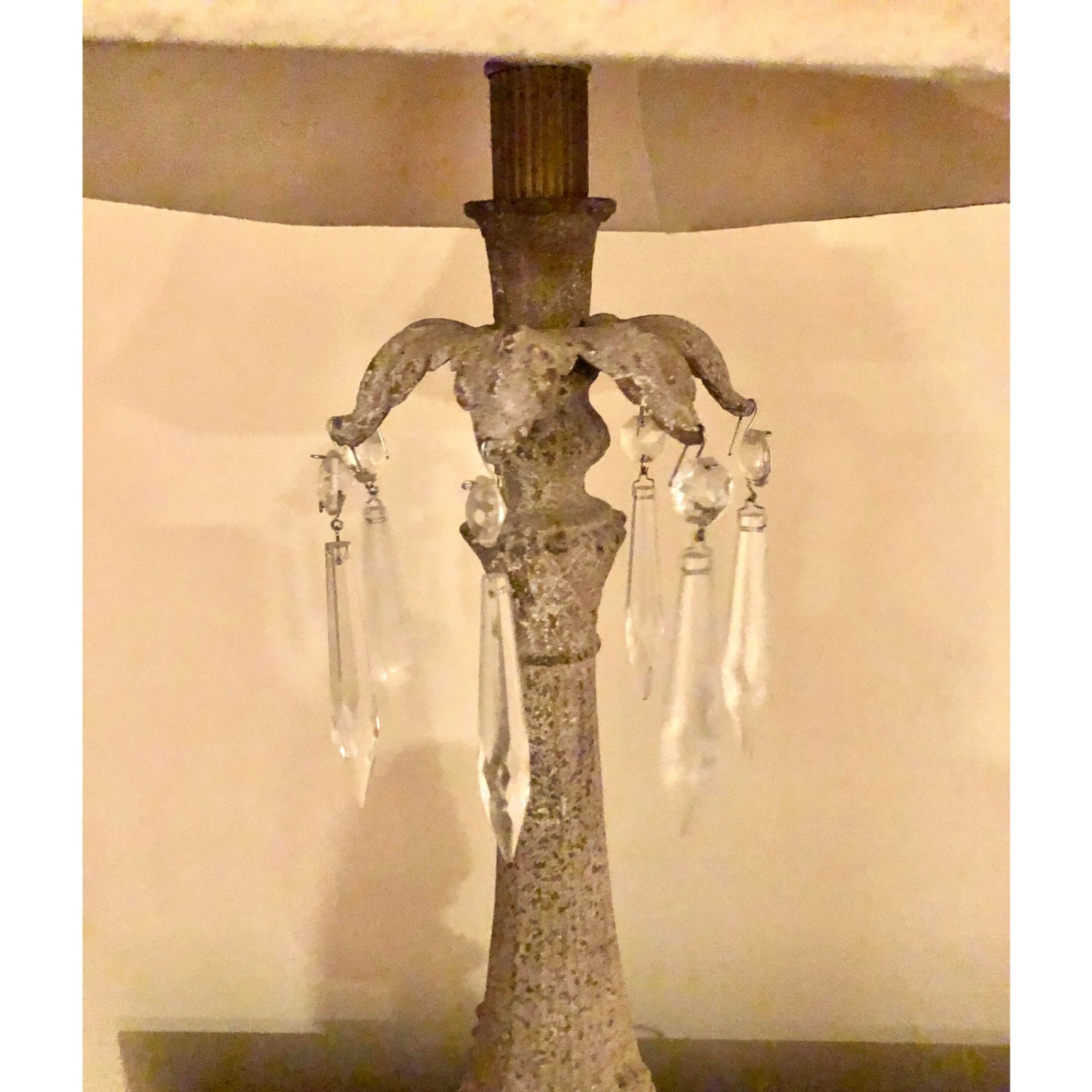 Vintage Table Lamp With Shade & Crystals - image-4