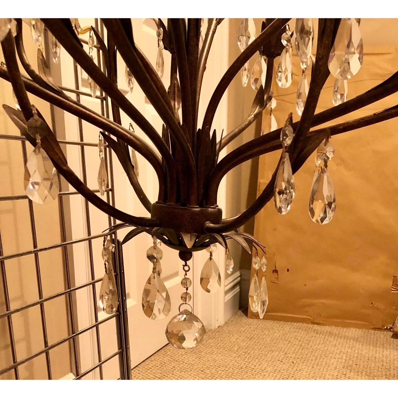 Bronze Leaf Motif Twelve Arm Crystal Chandelier - image-2