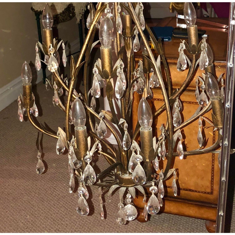 Bronze Leaf Motif Twelve Arm Crystal Chandelier - image-7
