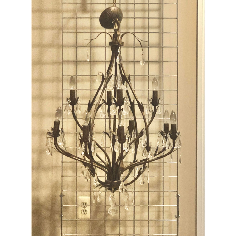 Bronze Leaf Motif Twelve Arm Crystal Chandelier - image-3