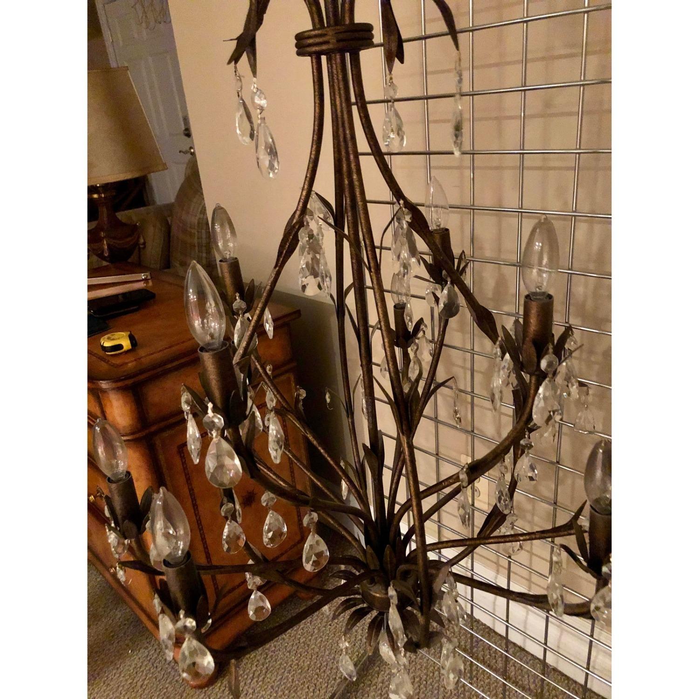 Bronze Leaf Motif Twelve Arm Crystal Chandelier - image-4